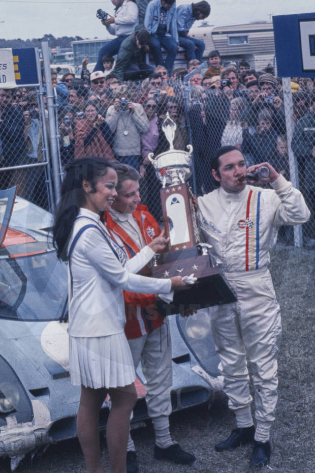 January 31-February 1, 1970 Pedro Rodriguez, right. Leo Kinnunen is in the middle. Porsche 917